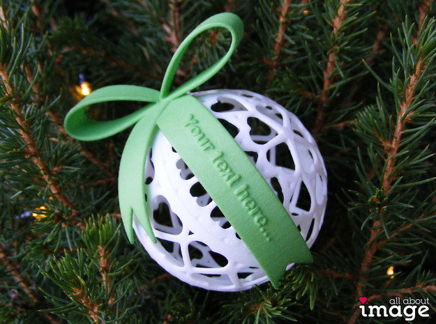 Personalized Bow for Chrismas Ornaments  in Green Strong & Flexible Polished