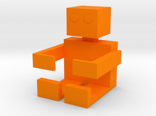 Square Man Pen Holder in Orange Processed Versatile Plastic