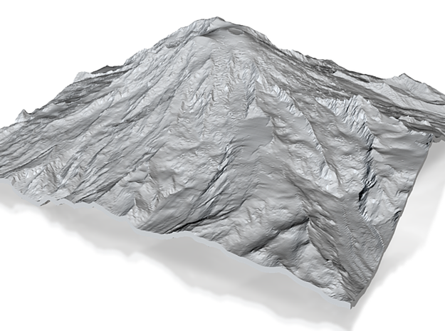 Mount Rainier (25cm square, 3mm thick) 3d printed