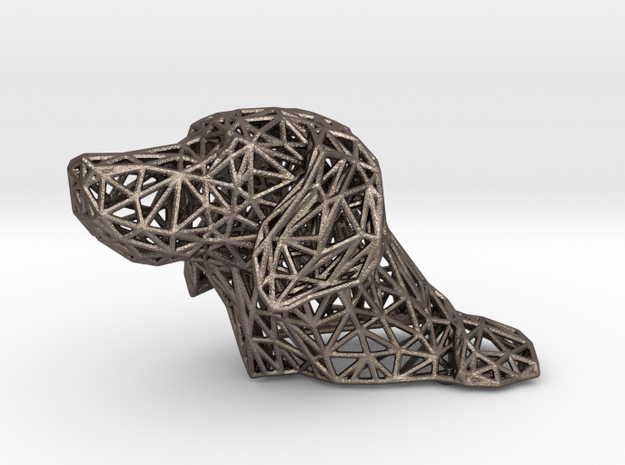 Polygon dog head in Polished Bronzed Silver Steel