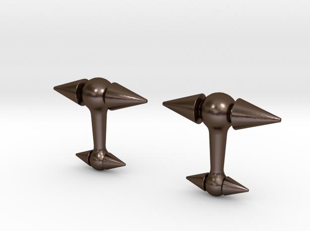 Spike cufflinks in Polished Bronze Steel