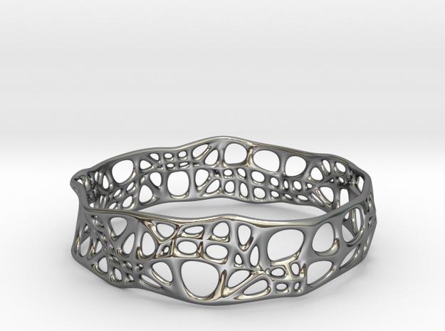 Voronoi Dodecagonal Bracelet in Fine Detail Polished Silver