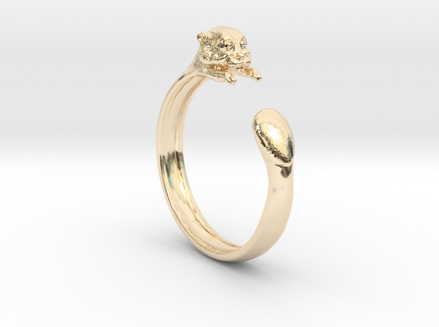 Beaver Ring in 14k Gold Plated Brass