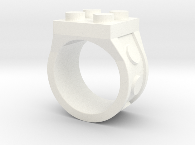 Brick 4 Stud Ring - Size 9  in White Processed Versatile Plastic