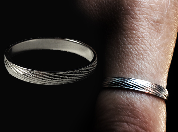 SculptedTwisted Ring in Rhodium Plated Brass