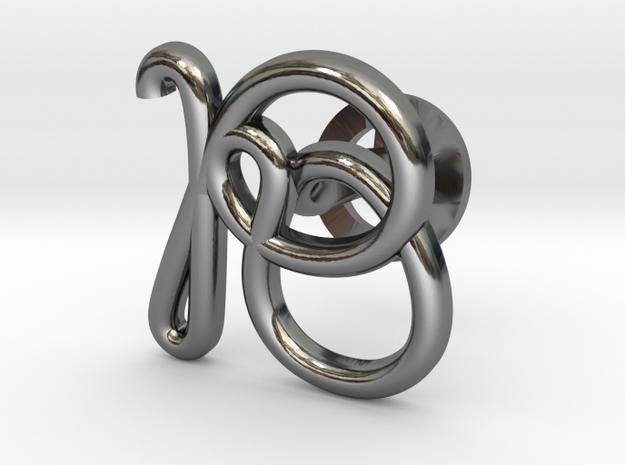 Cursive R Cufflink in Fine Detail Polished Silver