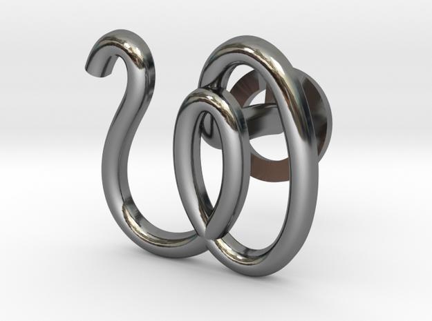 Cursive W Cufflink in Fine Detail Polished Silver