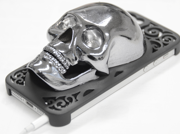 Skull iPhone 5 Case 3d printed ABSPlating and coating