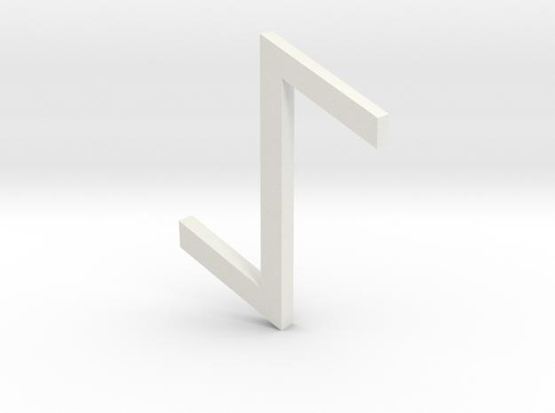Rune_Eihwaz in White Natural Versatile Plastic