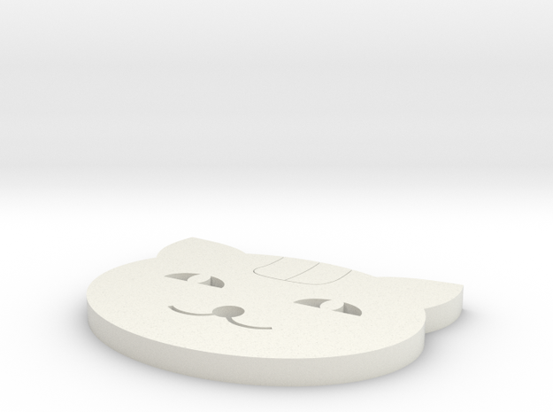 The Cat Coaster in White Natural Versatile Plastic