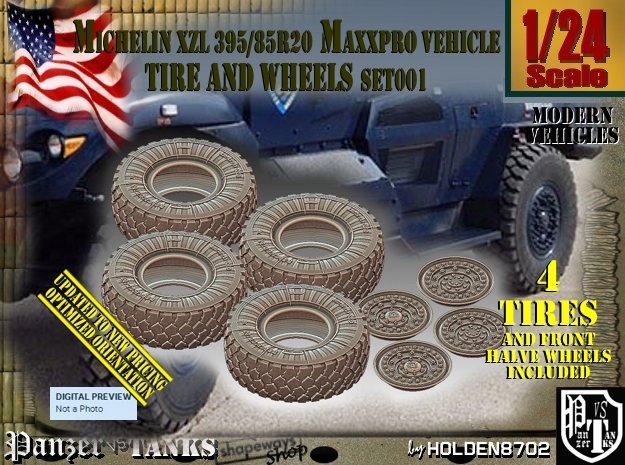 1/24 MaxxPro Mich XZL 395-85R20 Tire-Wheel Set001 in Frosted Ultra Detail