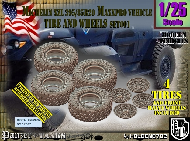 1/25 MaxxPro Mich XZL 395-85R20 Tire-Wheel Set001 in Frosted Ultra Detail