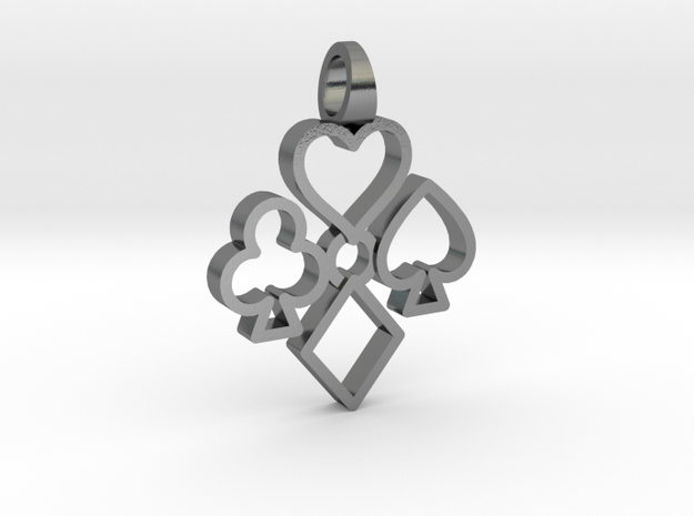 Heart Club Diamond Spade [pendant] in Polished Silver