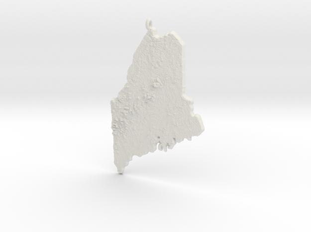 Maine Christmas Ornament in White Natural Versatile Plastic