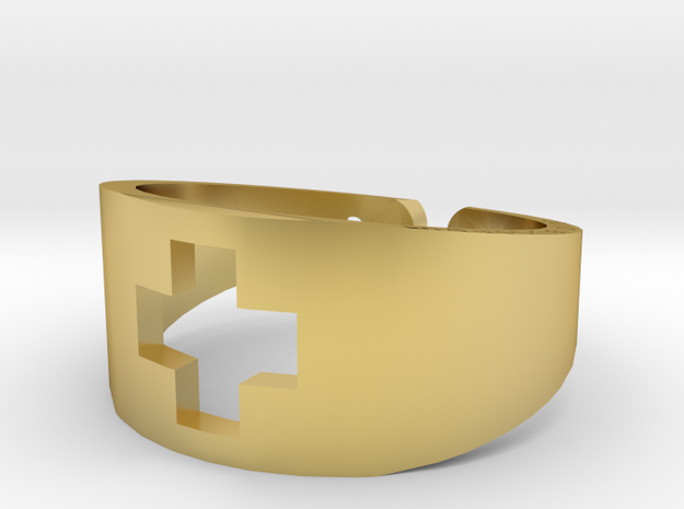 Plus Sign Ring Size 8 in Polished Brass