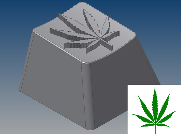 Marijuana Leaf Keycap (R4, 1x1) in White Natural Versatile Plastic