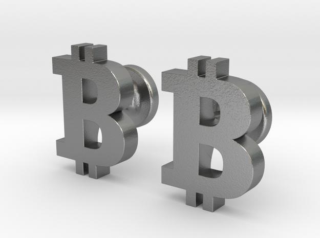 Bitcoin Cufflinks in Natural Silver