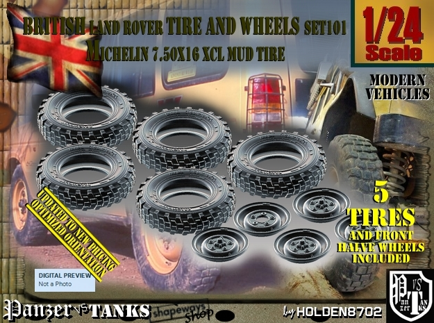 1/24 Land Rover XCL 750x16 Tire and wheels Set101 in Frosted Ultra Detail