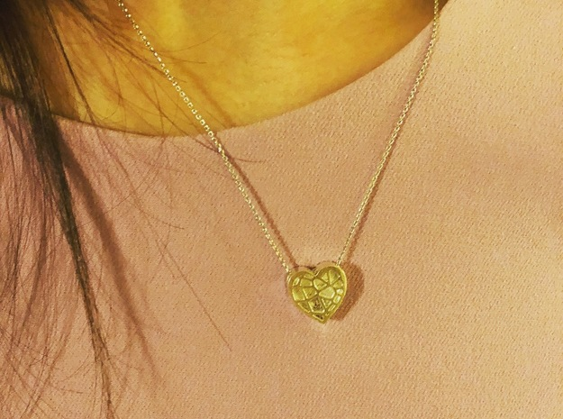 Floating Heart Pendant  in 14k Gold Plated Brass