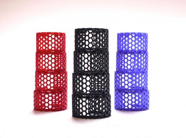 Slim Perforated Honeycomb Ring 3d printed multiple colors
