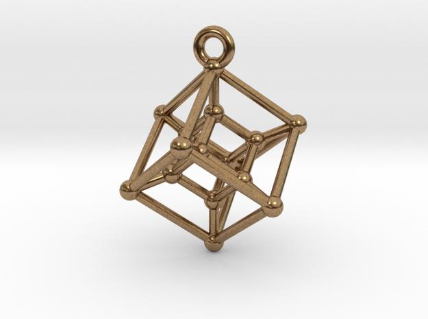 Hypercube Pendant in Natural Brass