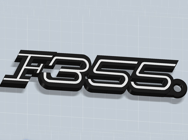 KEYCHAIN F355 3d printed Keychain with F355 logo in Black Matte Steel and white plastic inserts, that you can buy apart, render.