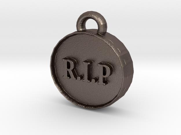 Net Neutrality Pendant in Polished Bronzed Silver Steel