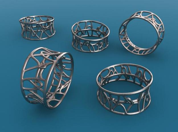 Arabesque ring in Polished Bronzed Silver Steel
