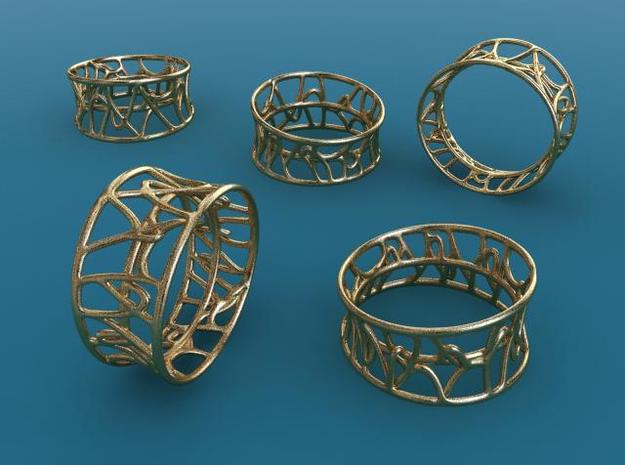 Arabesque ring 3d printed Gold Plated matte render