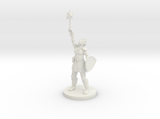 Female Dragonborn Paladin / Cleric in White Natural Versatile Plastic