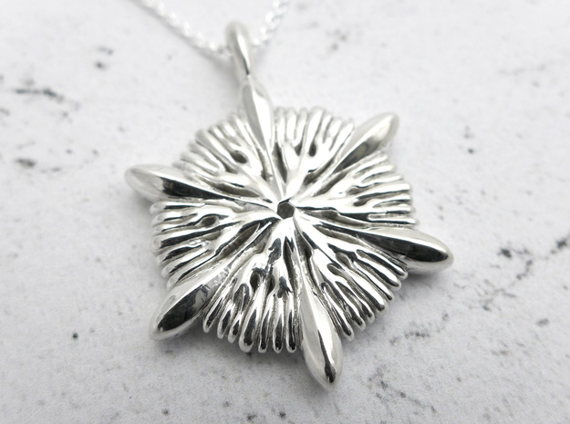 Astrocyathus pendant in Polished Silver