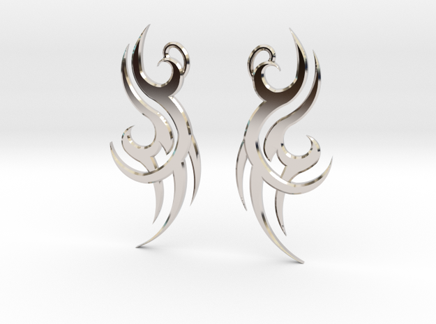 "Tribal ""Wind spirit"" Earrings in Rhodium Plated Brass"