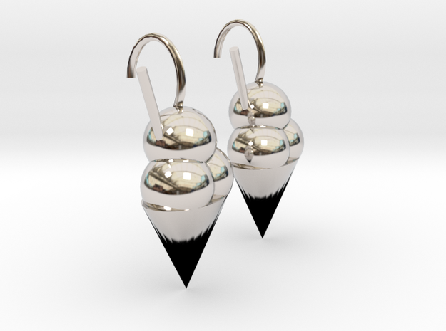 Icecream earrings  in Rhodium Plated Brass