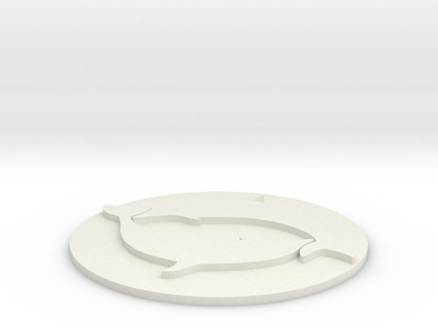 Dolphin Coaster in White Natural Versatile Plastic