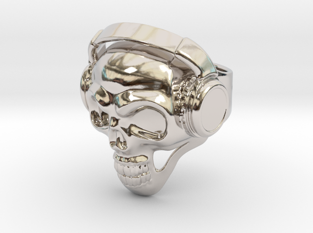 Skull Headphones in Rhodium Plated Brass