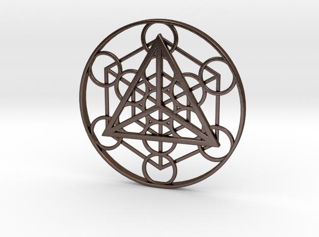 Metatron's Cube - Tetrahedron in Polished Bronze Steel