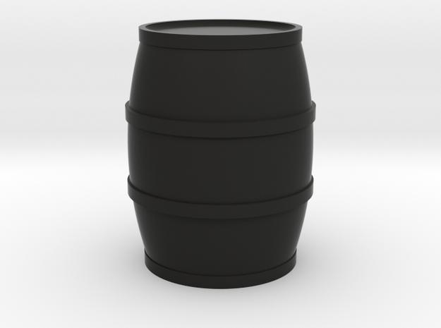 Round Barrel Game Piece in Black Natural Versatile Plastic