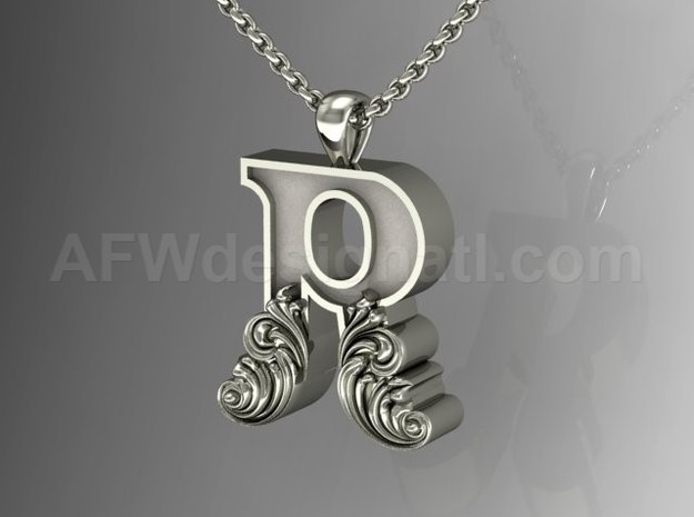 Scroll Letter R – Initial Letter Pendant in Fine Detail Polished Silver