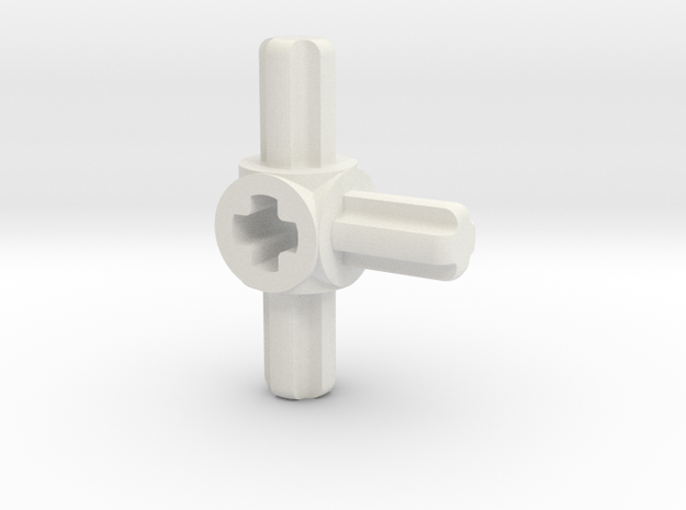 three sided M to F axle connector in White Strong & Flexible