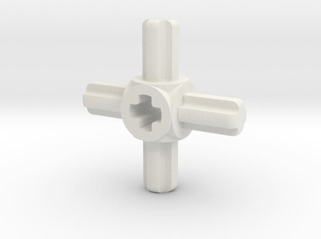 four sided M to F axle connector in White Strong & Flexible
