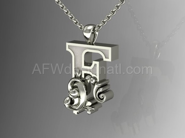 Scroll Letter F – Initial Letter Pendant in Fine Detail Polished Silver