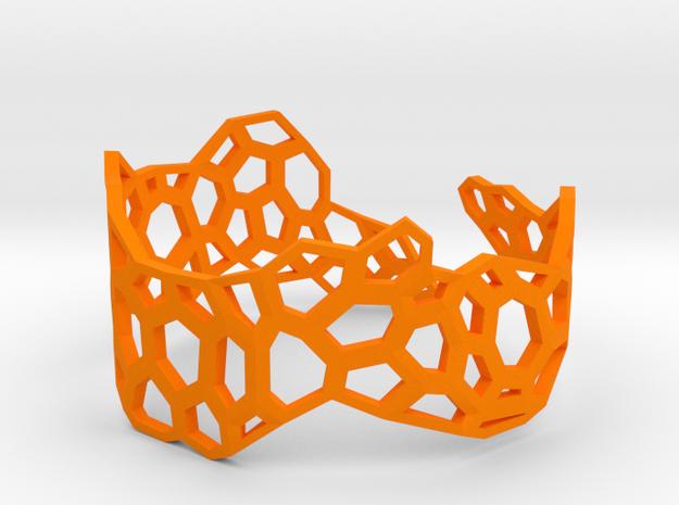 Voronoi Bracelet #2 in Orange Processed Versatile Plastic