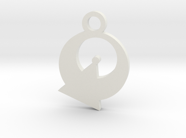 Vulcan Silhouette Charm in White Natural Versatile Plastic