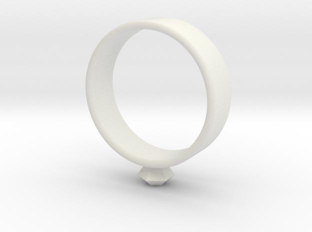 Small diamond ring in White Natural Versatile Plastic