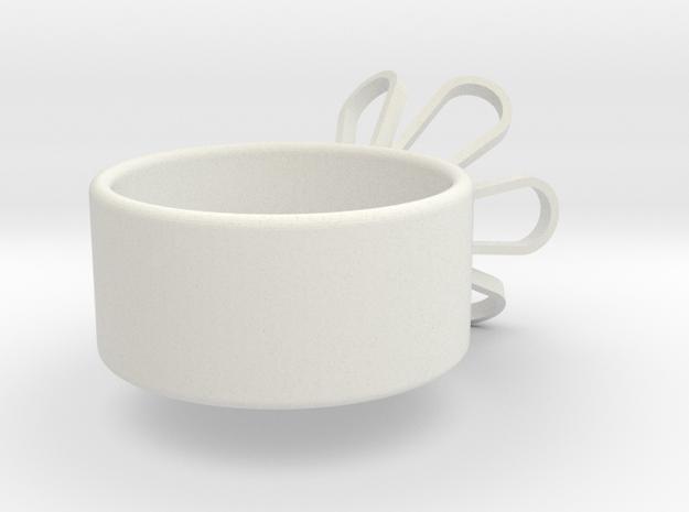 Six flower ring in White Natural Versatile Plastic