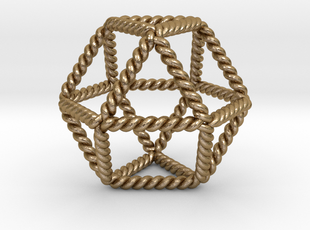 "Twisted Cuboctahedron LH 2""  in Polished Gold Steel"