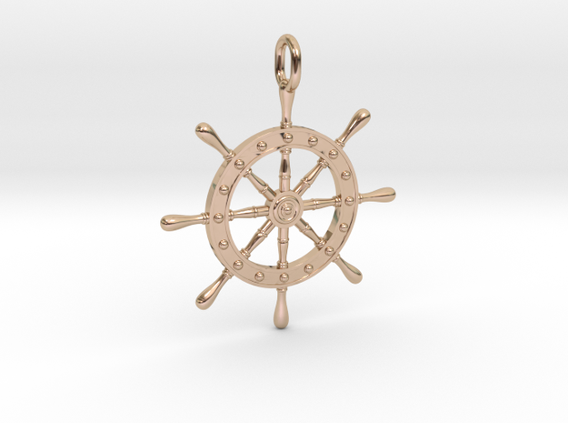 Boat Steering Wheel in 14k Rose Gold Plated Brass