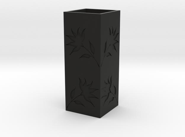 Engraved Flower Vase - Black in Black Strong & Flexible