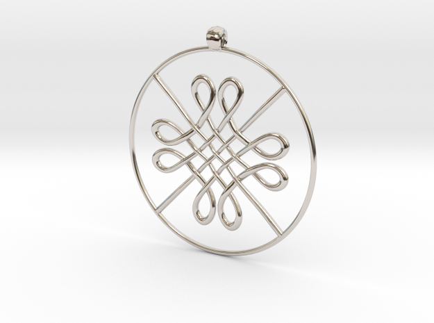 8K Pendant in Rhodium Plated Brass
