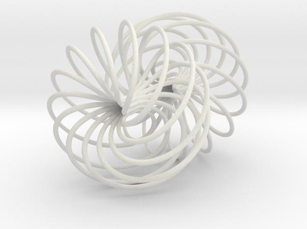 Double Spiral Torus 7/12, golden ratio 3 in White Natural Versatile Plastic